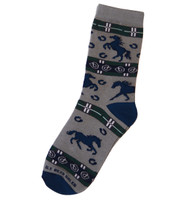 Kids Gray with Navy Horses & Horseshoe Socks