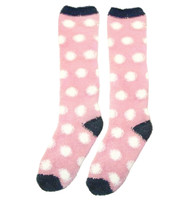 Kids Horseware Softie Socks, Pink with White Polka Dots