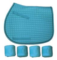 PRI Sea Blue Quilted Pony Saddle Pad & Polos Set