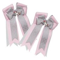 Belle & Bow Show Bows, Quatrefoil, Pink & Silver
