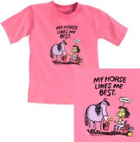My Horse Likes Me Best Childs Tee, Size Small Only