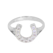 Lovely polished silver horseshoe ring with inset Swarovski crystals