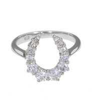 Graduated Horseshoe Ring in sterling silver and Swarovski crystals