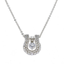 Sterling Silver and Swarovski Crystals Double Row Horseshoe Pendant
