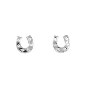 Horseshoe Earrings in Sterling Silver and Swarovski Crystals