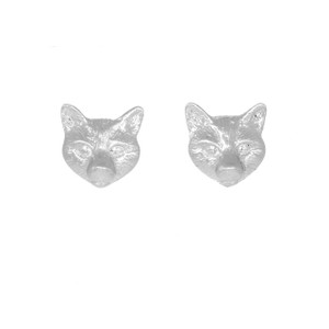 Fox Head Studs Earrings Sterling Silver