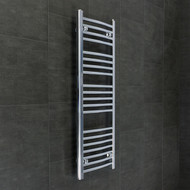 400mm Wide 1100mm High Curved Chrome Towel Radiator