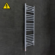 400 mm Wide x 1100 mm High Electric Prefilled Straight Chrome Heated Towel Rail Radiator