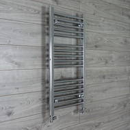 450mm Wide 600mm High Curved Chrome Towel Radiator with straight valves