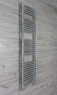 450mm Wide 1100mm High Curved Chrome Heated Towel Rail Radiator with straight valves