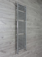 450mm Wide 1500mm High Curved Chrome Heated Towel Rail Radiator with angled valves