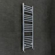 450mm Wide 1300mm High Flat Chrome Heated Towel Rail Radiator with angled valves