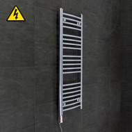 450 mm Wide x 1100 mm High Electric Prefilled Straight Chrome Heated Towel Rail Radiator