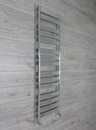 600mm Wide 1600mm High Flat Panel Chrome Heated Towel Rail Radiator angled valves