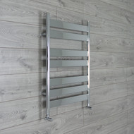 600mm Wide 800mm High Flat Panel Chrome Heated Towel Rail Radiator angled valves