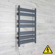 500mm Wide 800mm High Flat Panel Anthracite Heated Towel Rail Radiator with gt thermostatic element