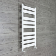 500mm Wide 950mm High Flat Panel White Heated Towel Rail Radiator angled valves