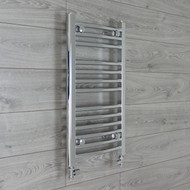 400mm Wide 700mm high Curved Chrome Heated Towel Rail Bathroom Radiator straight valves