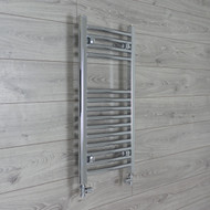 400mm Wide 800mm high Curved Chrome Heated Towel Rail Bathroom Radiator straight valves