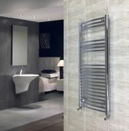 450mm Wide 1118mm high Curved Chrome Heated Towel Rail Bathroom Radiator