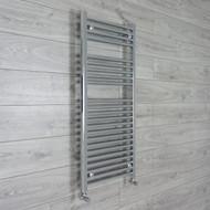 500mm Wide 1100mm High Straight Chrome Heated Towel Rail Radiator angled valves