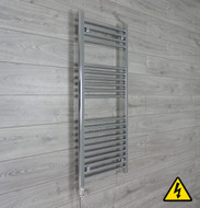 500mm Wide 1200mm High Straight Chrome Heated Towel Rail Radiator electric