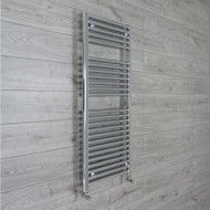 500mm Wide 1211mm High 25mm Straight Chrome Heated Towel Rail Radiator angled valves