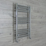 500mm Wide 800mm High Straight Chrome Heated Towel Rail Radiator angled valves