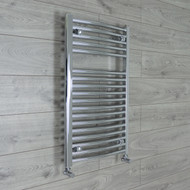 500mm Wide 800 mm High Straight Chrome Heated Towel Rail Radiator angled valves