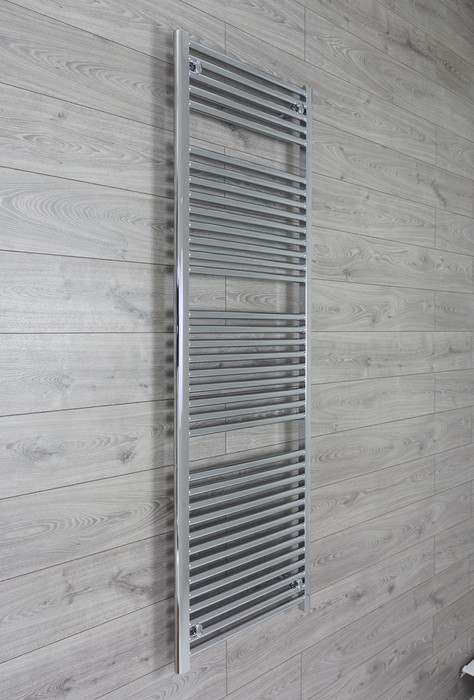 600mm Wide 1744mm High 25mm Tubes Straight Chrome Heated Towel Rail Radiator