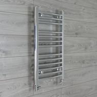 500mm Wide 700 mm High Straight Chrome Heated Towel Rail Radiator straight valves