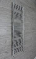 500 mm wide 1856mm high flat chrome heated towel rail radiator angled valves