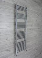 500 mm wide 1650mm high flat chrome heated towel rail radiator angled valves