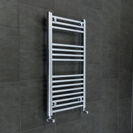 540 mm Wide 800 mm High Straight Chrome Heated Towel Rail Rad Radiator angled valves