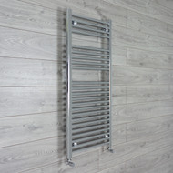 500mm Wide 1100mm High Straight Chrome Heated Towel Rail Radiator angled valves