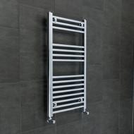 500 mm High 800 mm Wide Heated Straight Chrome Towel Rail Rad Radiator angled valves