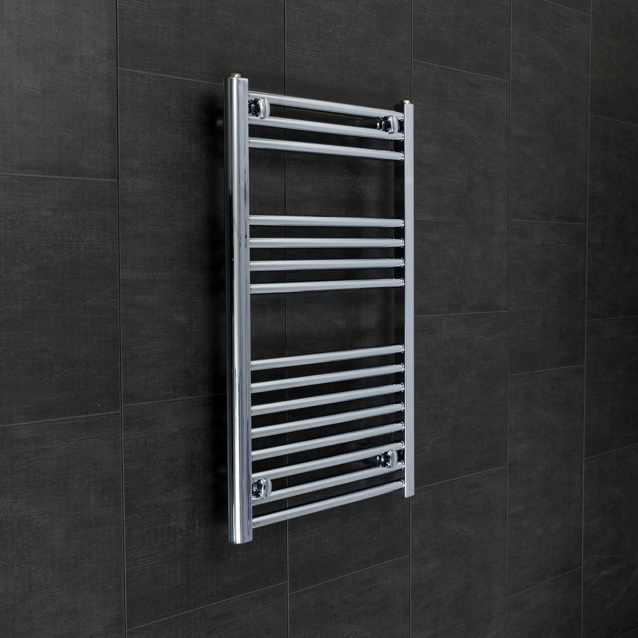 Kudox Flat Electric Towel Radiator: 500mm Wide 800mm High Heated Flat Chrome Towel Radiator