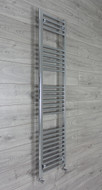 600mm wide 1600mm high flat chrome heated towel rail radiator with angled valves
