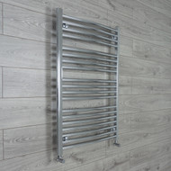700mm Wide 1000mm High Straight Chrome Heated Towel Rail Radiator angled valves