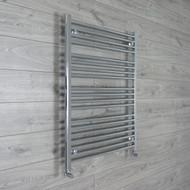 750mm Wide 1100mm High Straight Chrome Towel Radiator angled valves