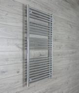 750mm Wide 1300mm High Straight Chrome Towel Radiator