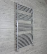750mm Wide 1400mm High Straight Chrome Towel Radiator angled valves
