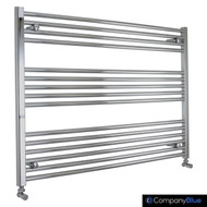 1000mm Wide 800mm High Straight Chrome Towel Radiator with angled valves
