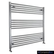1000mm Wide 900mm High Straight Chrome Towel Radiator with angled valves