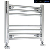 400mm Wide 400mm High Curved Chrome Towel Radiator with angled valves