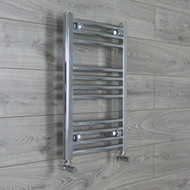 400mm Wide 600mm High Curved Chrome Towel Radiator with angled Valves