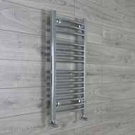 400mm Wide 800mm High Curved Chrome Towel Radiator with angled valves