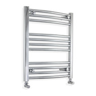 500mm Wide 600mm High Curved Chrome Towel Radiator with angled valves