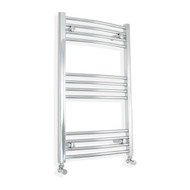 500mm Wide 800mm High Curved Chrome Towel Radiator with angled valves