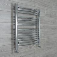 700mm Wide 800mm High Curved Chrome Heated Towel Rail Radiator angled valves
